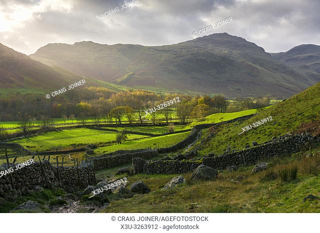Autumnal view over the Langdale Valley towards Wrynose Fell and Pike of Blisco in the Lake District National Park, Cumbria, England