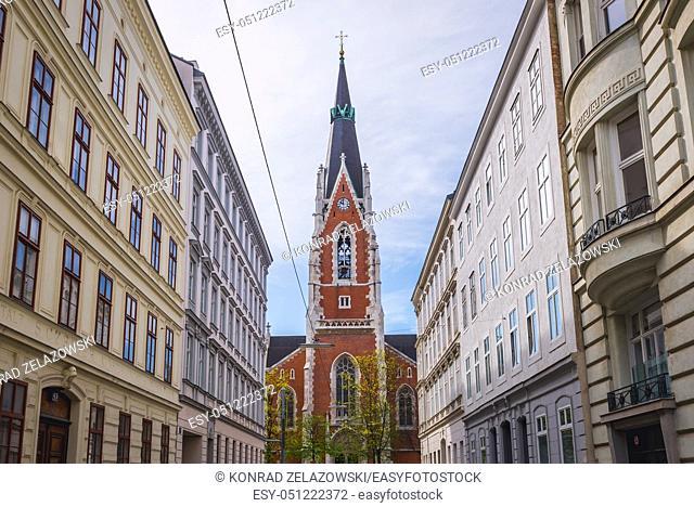 Parish Church of Saint Elisabeth in Vienna, Austria, view from Argentinierstrasse Street
