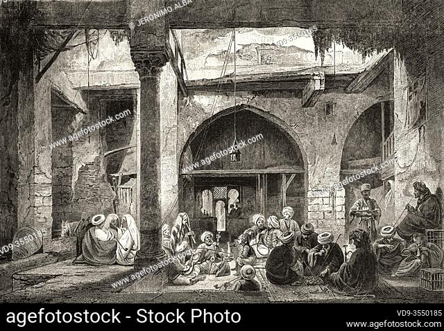 A traditional Egyptian cafe, Cairo, Ancient Egypt. Old 19th century engraved illustration, El Mundo Ilustrado 1880