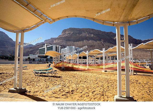The beach of the Dead Sea resort area, Israeli, Middle East, Asia