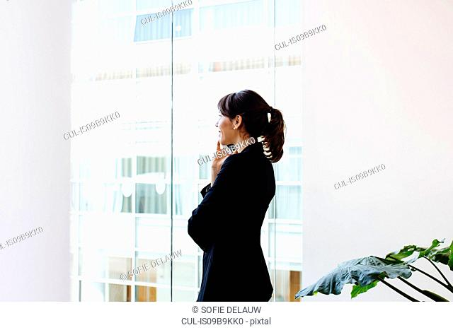 Businesswoman using mobile phone by window