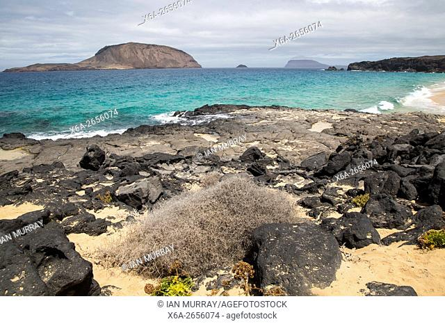 Montana Clara island nature reserve from Graciosa island, Lanzarote, Canary Islands, Spain