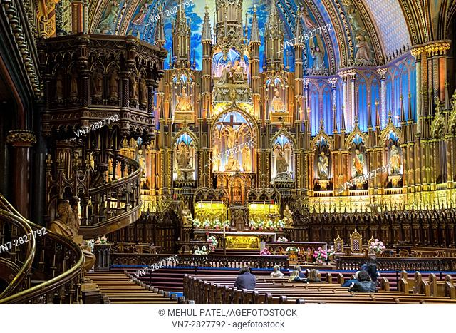 Inside the Notre Dame Basilica Montreal, Canada. As an example of Gothic Revival architecture the Notre Dame Basilica was built between 1824 and 1829 and hosts...