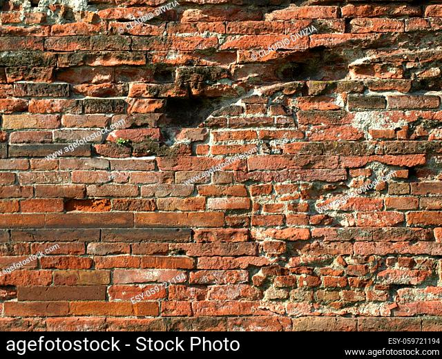 Ancient Roman brick wall useful as a background