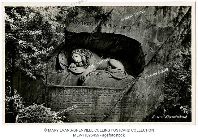 The Lion of Lucerne, Switzerland. Designed by Bertel Thorvaldsen and hewn in 1820–21 by Lukas Ahorn, the statue commemorates the Swiss Guards who were massacred...