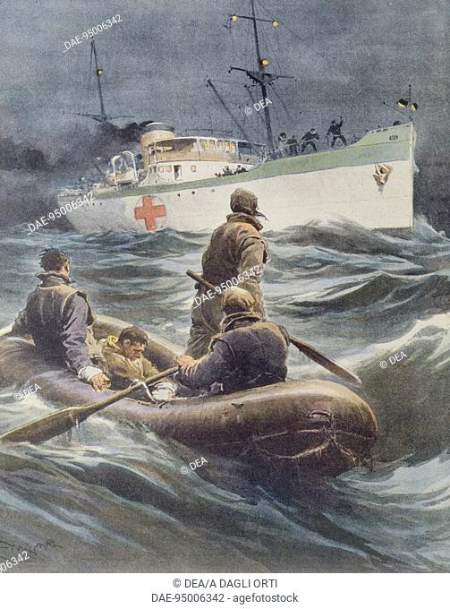 Italian hospital ship taking wounded onboard. Illustrator Achille Beltrame (1871-1945), from La Domenica del Corriere, 23rd March 1941