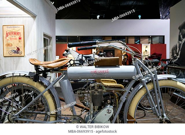 USA, New York, Finger Lakes Region, Hammondsport, Glenn H, Curtiss Museum, dedicated to early US aviation pioneer and resident Glenn Curtiss, Curtiss Motorcycle