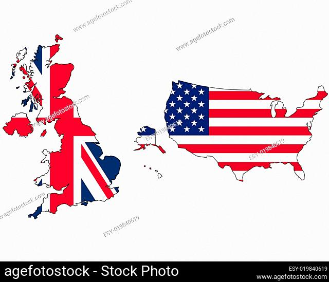 UK and USA flag in map