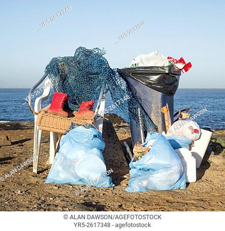 Rubbish on beach on north coast of Gran Canaria, Canary Islands, Spain
