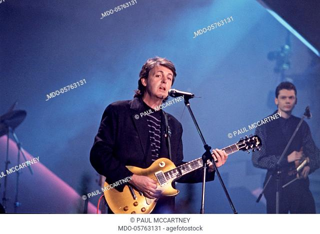 British singer-songwriter and musician Paul McCartney performing at the 38th Sanremo Music Festival. 1988