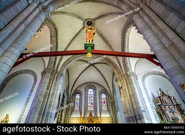 Sweden, Gotland Island, Visby, Visby Sankta Maria domkyrka cathedral, 12th century, interior with stained glass windows