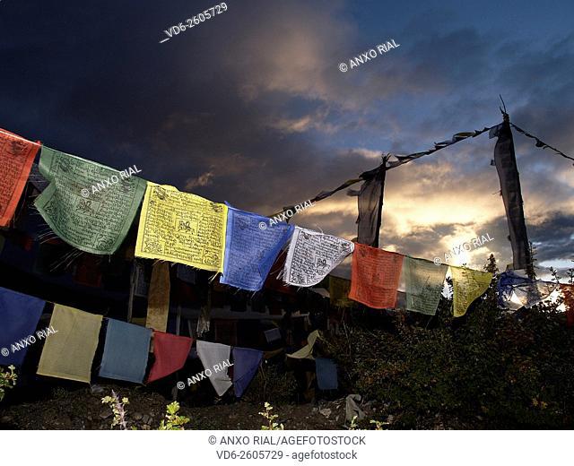 Nepal. Himalayas. Annapurna Circuit. Thorong La Pass (5, 416 m) . Flags prayer