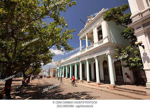 View to the colonial buildings at the main avenue Prado at the town center, Cienfuegos, Cienfuegos Province, Cuba, West Indies, Central America