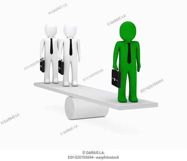 business men balance on seesaw