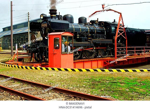 Railway turntable at Hitoyoshi Station, Kumamoto Prefecture, Japan