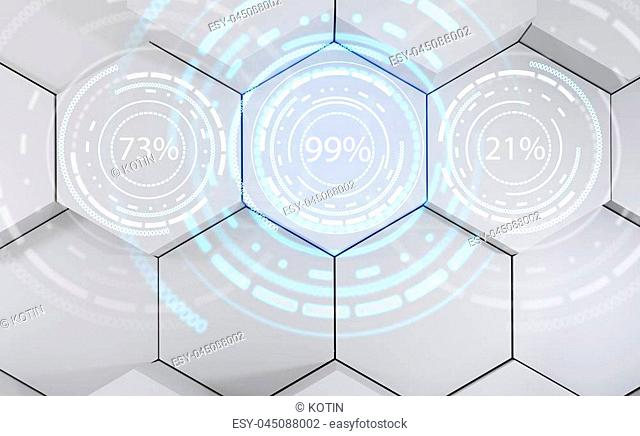 Futuristic loading circle rings. Display of waiting time load. Over gray hexagons background. 3d rendering