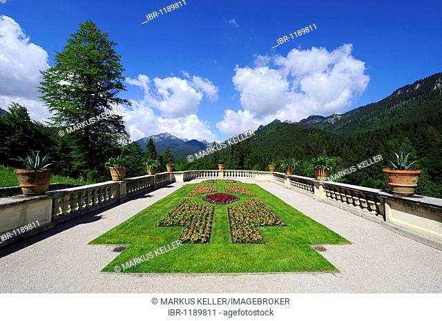 Garden terrace in Schlosspark Gardens of Schloss Linderhof Palace in Graswangtal near Oberammergau, district of Garmisch-Partenkirchen, Bavaria, Germany, Europe
