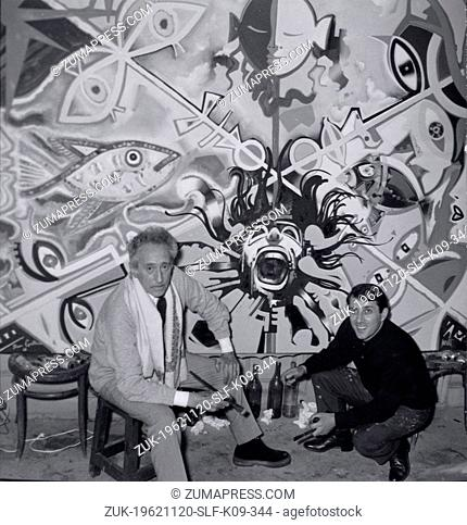 Nov 20, 1962 - Paris, France - For the first time ever two well known painter have painted together one painting. JEAN COCTEAU (L) and R