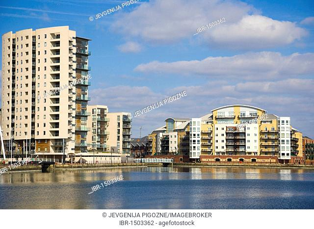 Riverside properties near Roath Basin, Cardiff Bay, Cardiff, Caerdydd, South Glamorgan, Wales, United Kingdom, Europe