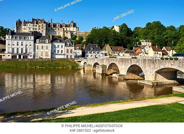 France, Loir et Cher, Cher valley, the town and the castle of Saint-Aignan and the River Cher