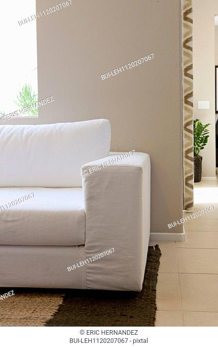Cropped couch in the living room at home