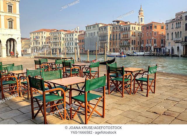 Grand Canal, Street Cafe, Venice, Veneto, Italy