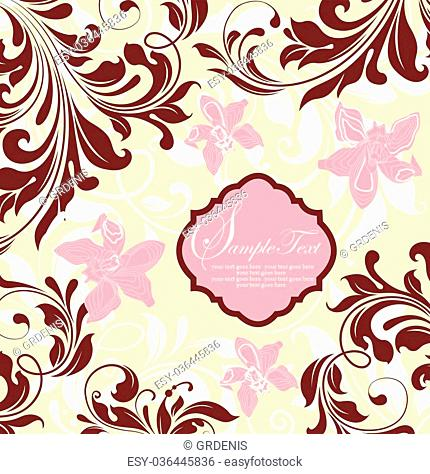 Vintage invitation card with ornate elegant abstract floral design, pink and wine red flowers on pale yellow and white background. Vector illustration