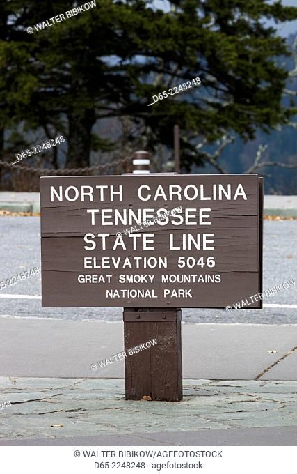 USA, North Carolina, Great Smoky Mountains National Park, Newfound Gap Road, Route 441, North Carolina-Tennessee state line