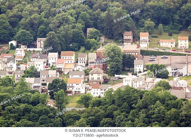 An aerial view of homes in East Mauch Chunk, Jim Thorpe, Pennsylvania, United States, North America
