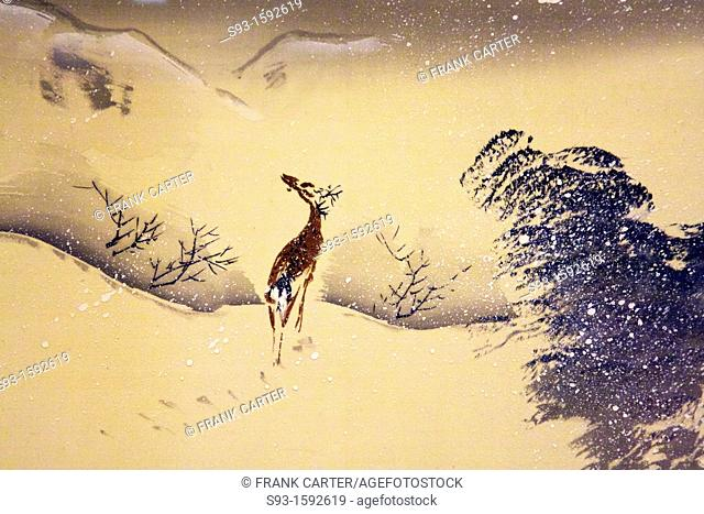 A painting of a deer walking in a snow storm