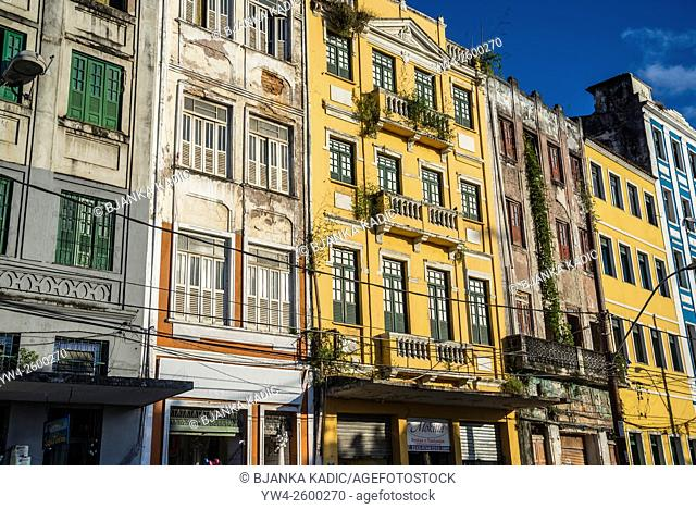 Sunlit facades of the lower city, Salvador, Bahia, Brazil