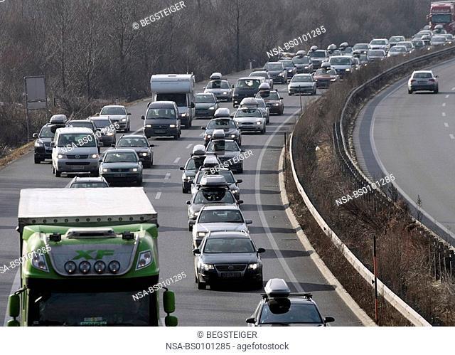traffic jam on Austrian highway, Tyrol