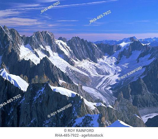 Mountains of the Mont Blanc Range near Chamonix, French Alps, Haute-Savoie, France, Europe