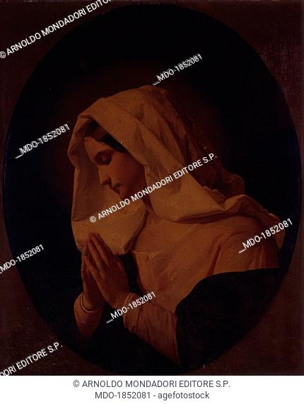 A Blessed Virgin praying, by Giuseppe Molteni, 19th century, oil on canvas. Italy, Lombardy, Milan, Brera Collection. Whole artwork view