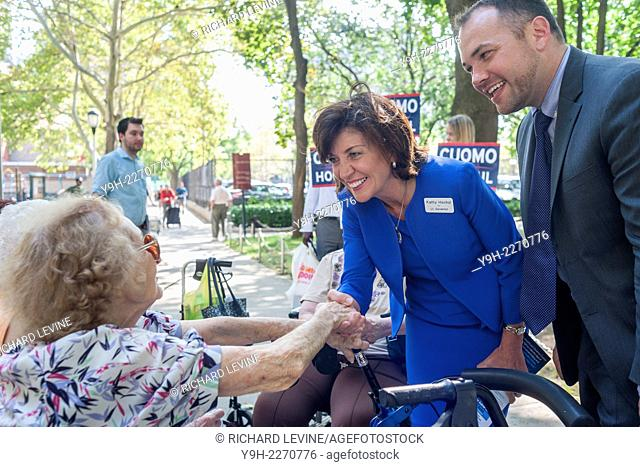 Gov. Andrew Cuomo's running mate, Kathy Hochul, center, greets elderly voters with NYC Councilmember Corey Johnson in the Penn South housing complex in Chelsea...