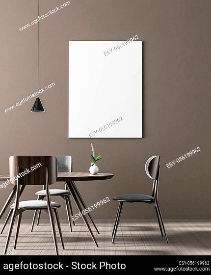 Mock up poster frame in Scandinavian style dining room. Minimalist dining room design. 3D illustration