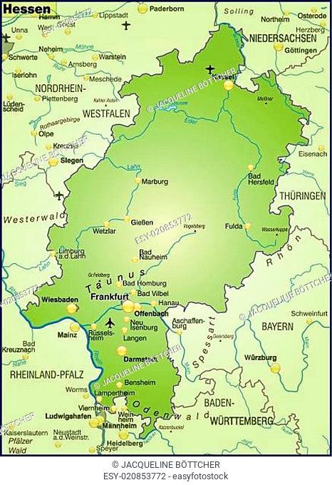 Karte Von Hessen Als Stock Photos And Images Agefotostock