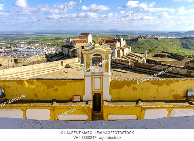View from Governor House, Fort of Graca, Garrison Border Town of Elvas and its Fortifications, Portalegre District, Alentejo Region, Portugal, Europe