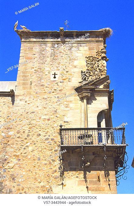 Corner balcony. Godoy Palace, Caceres, Spaain