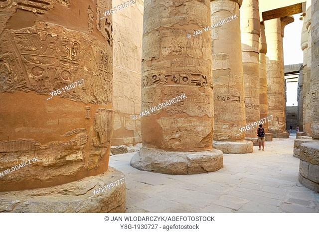 Egypt - Hypostyle Hall in Amun-Re Temple, Karnak, Upper Egypt, UNESCO