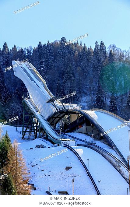 Winter at the ski jump and runway in Garmisch