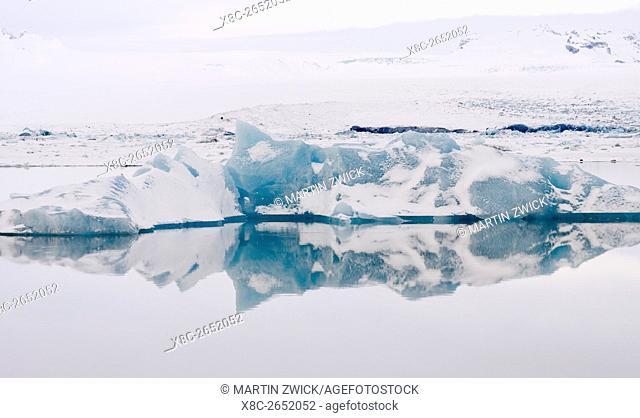 The glacial lagoon Joekulsarlon in the Vatnajoekull NP during winter. europe, northern europe, iceland, February