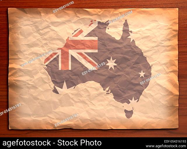 Australia Map with flag on recycle vintage paper craft