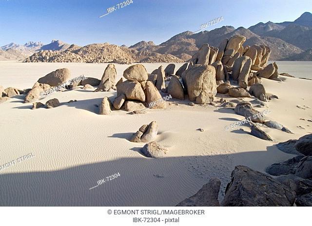 Rock formations at Jebel Uweinat, Jabal al Awaynat, Libya