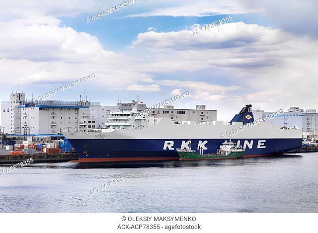 Wakanatsu cargo ship Ro-Ro RKK line in a port at Odaiba, Tokyo, Japan