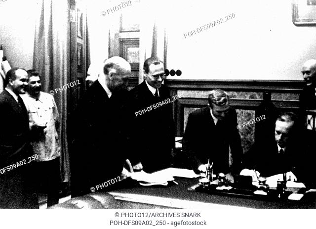 Signing of the Germano-Soviet Non-Agression Pact in Moscow. Ribbentrop signs. (Also seen: Stalin and Molotov) August 23, 1939 USSR - World War II Washington