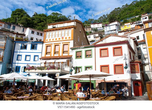 Terraces and view of the village. Cudillero, Asturias province, Spain