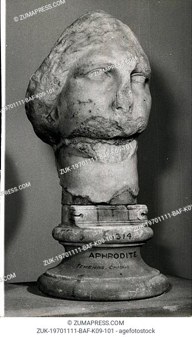 Nov. 11, 1970 - 'APHRODITE' FACES TEST OF IDENTITY: Scientific tests may be made in an attempt to identify the battered marble head at the British Museum