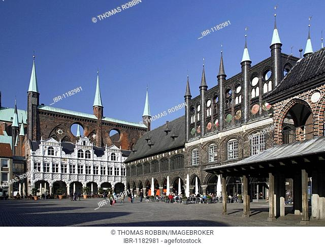 Town hall with decorated gables on the market square and old market hall, Hanseatic City of Luebeck, Schleswig-Holstein, Germany, Europe