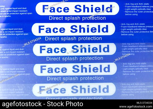 Closeup Stack of Blue Face Shield to protect from direct splash and droplets
